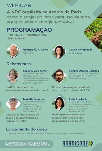 Agroicone promove webinar sobre as políticas públicas brasileiras diante do Acordo de Paris